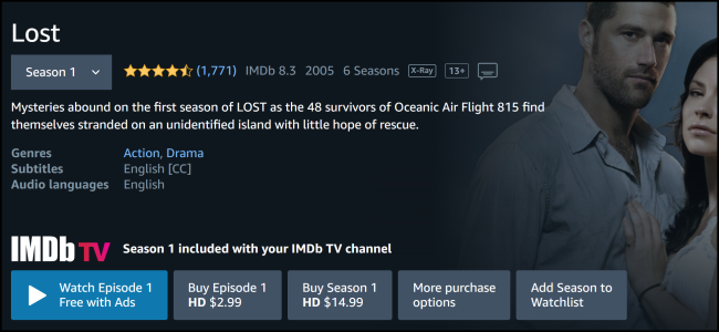 """Lost"" on Amazon Prime Video."