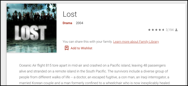 """Lost"" on Google Play."
