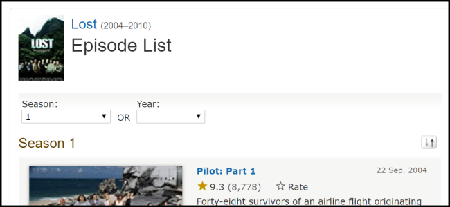 """Lost"" on IMDb TV."