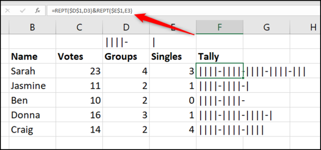 Create a tally graph with REPT