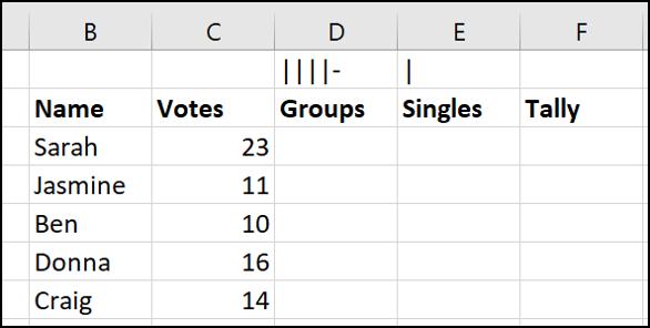 marcas de conteo en una celda para referencia de fórmula