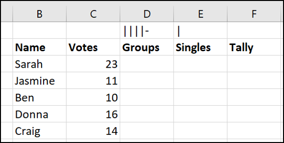 tally marks in a cell for formula referencing