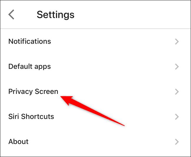 "Tap on the ""Privacy Screen"" option"
