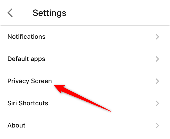"""Tap on the """"Privacy Screen"""" option"""