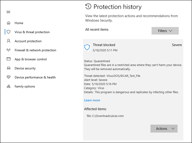 A detailed view of a threat in Protection history on Windows 10