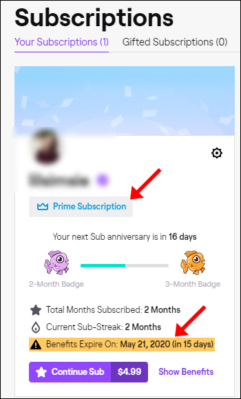"""A subscription expiration date on the """"Subscriptions"""" page of a Twitch Prime account."""