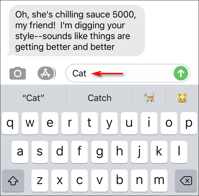 Type in messages to see predictive text emoji search