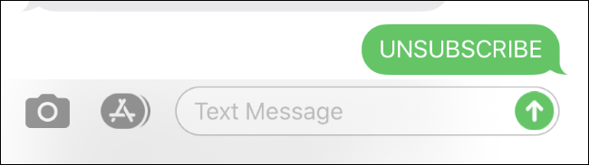 Unsubscribing from a text message list on an iPhone.
