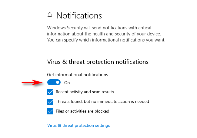 Virus and threat protection notifications in Windows 10