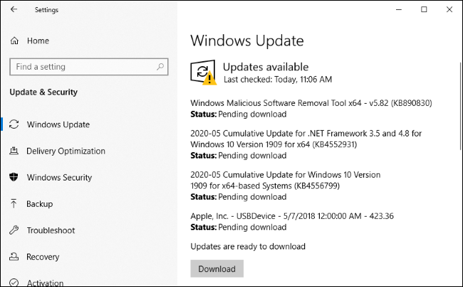 Installing updates for Edge and other software via Windows Update.