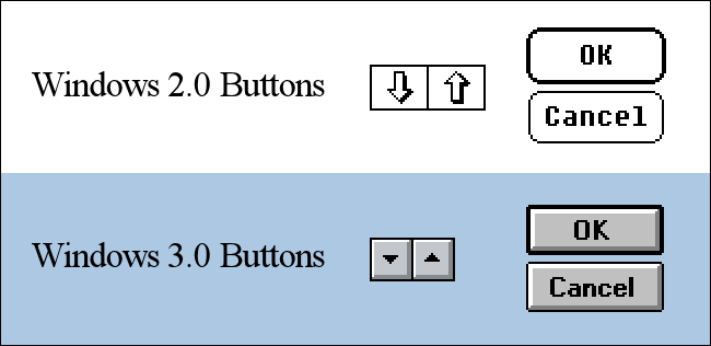 Windows 2.0 and Windows 3.0 Button Comparison