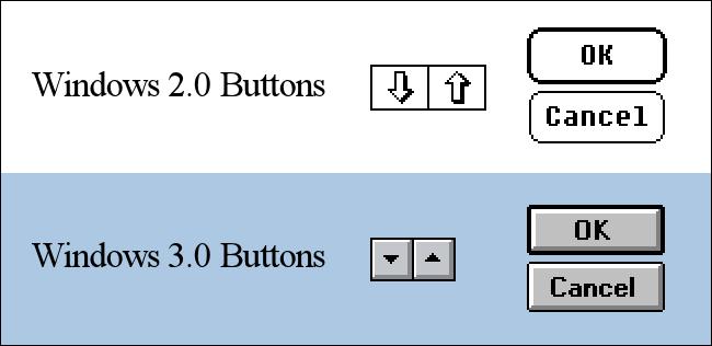 Windows 2.0 and Windows 3.0 Button Comparison