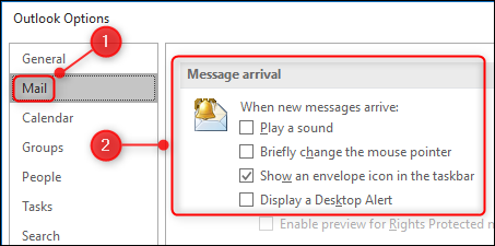"The ""Message arrival"" settings in the Options panel."