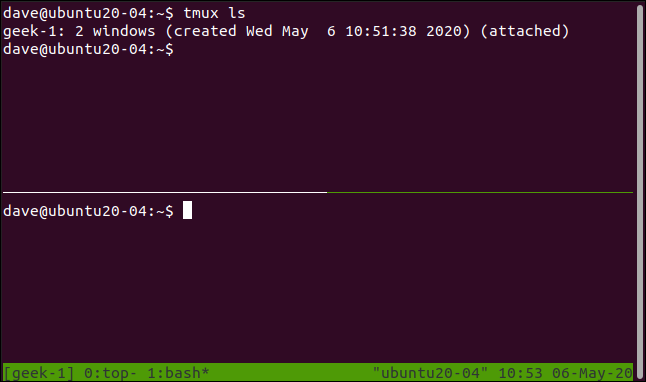 tmux session with horizontal panes in a terminal window.