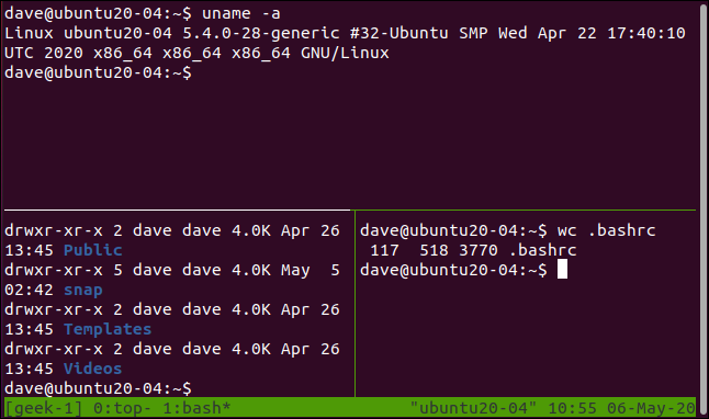 tmux session with vertical and horizontal split panes in a terminal window.