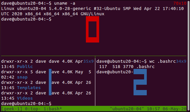 tmux showing pane numbers in a terminal window.