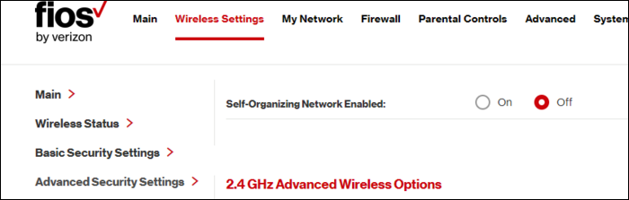 "The ""Self-Organizing Network Enabled"" option on a Fios router."