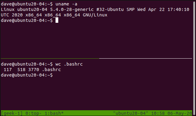 tmux with two horizontal panes in a terminal window.