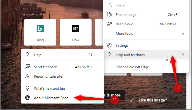 Launching Edge's About page, where you can update the browser.