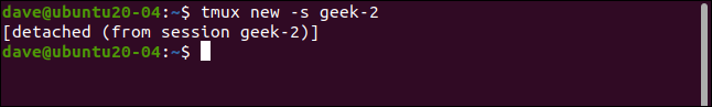 Detached tmux session geek-2 in a terminal widnow.