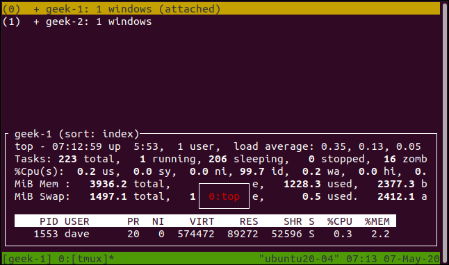 list of tmux sessions displayed in a terminal window.