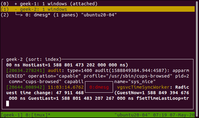 tmux session list with window detail displayed in a terminal window.