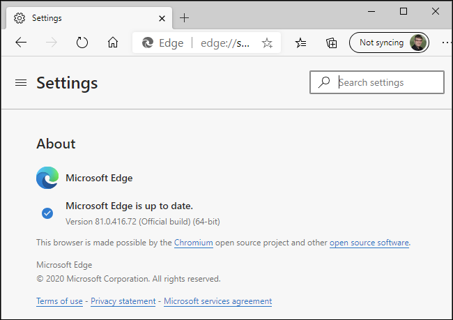 Microsoft Edge saying it's up to date on a Windows PC.