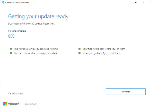 Installing the May 2020 Update with Windows 10's Update Assistant