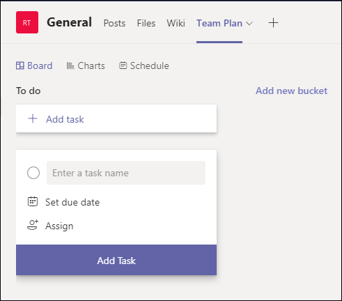 The new tab in your team, showing the newly created plan.