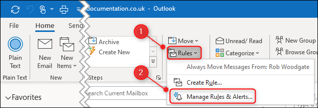 "The ""Manage Rules & Alerts"" menu option."