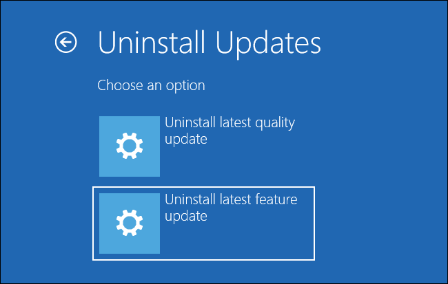 "Selecting ""Uninstall latest feature update"" on the Uninstall Updates screen"