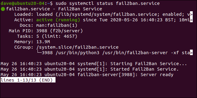 sudo systemctl status fail2ban.service in a terminal window.
