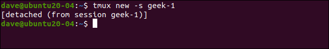 tmux message following detching a session, in a terminal window.