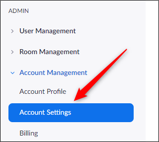 Account settings tab in admin group
