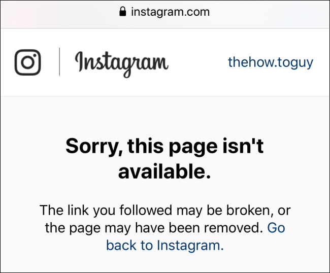 Can't open the profile URL for Instagram profile that has blocked you