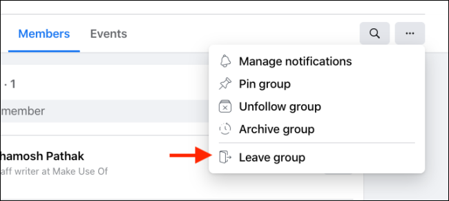 Click Leave Group from Facebook Group Menu