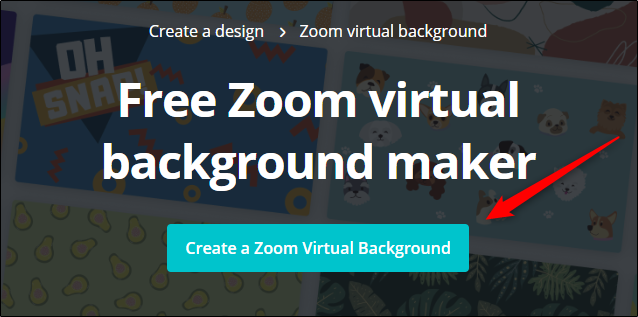 "Click ""Create a Zoom Virtual Background"" on the Canva website."