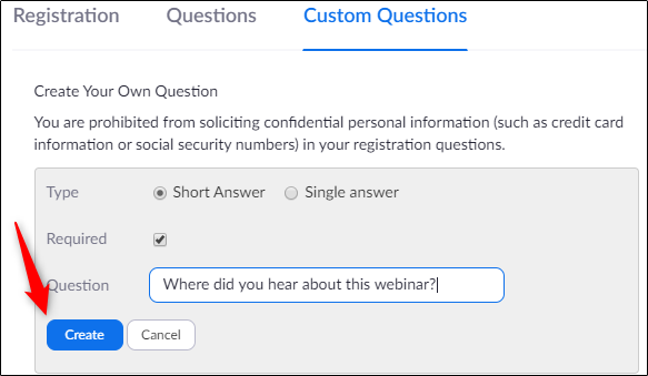 Create your own custom question