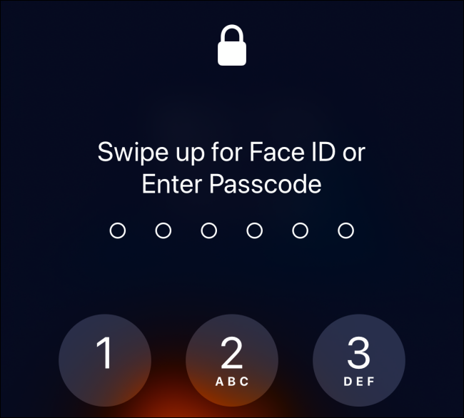 Enter Passcode screen on iPhone with Face ID