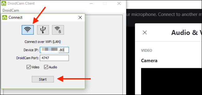 "Type the Wi-Fi IP, and then click ""Start."""