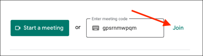 Enter the meeting code and click Join