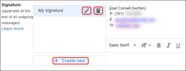 Gmail Multiple Signature Interface