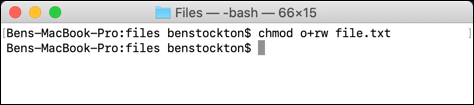 An alternative use of chmod at the macOS terminal