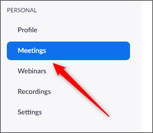 Meetings tab in left-hand pane