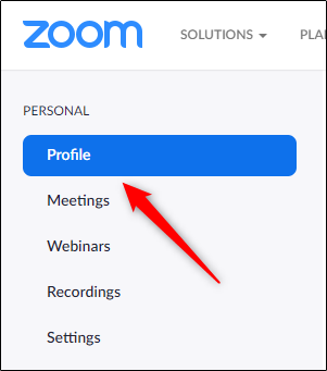 Zoom Account Profile Tab