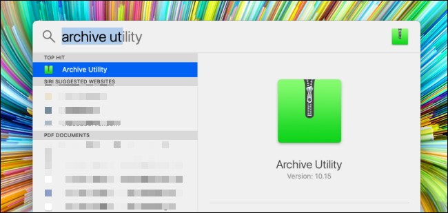 Search for Archive Utility in Spotlight Search