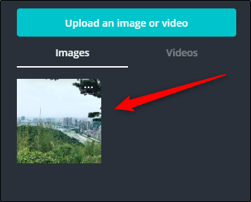 "Click your uploaded photo in the ""Images"" section."