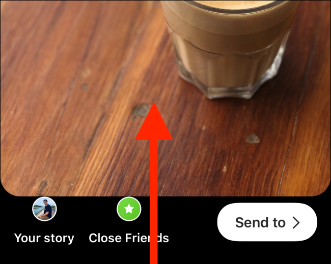 Swipe up after creating your Instagram Story