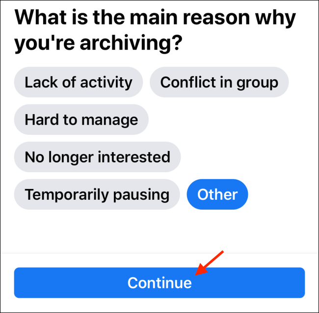 Tap Continue on Archive page