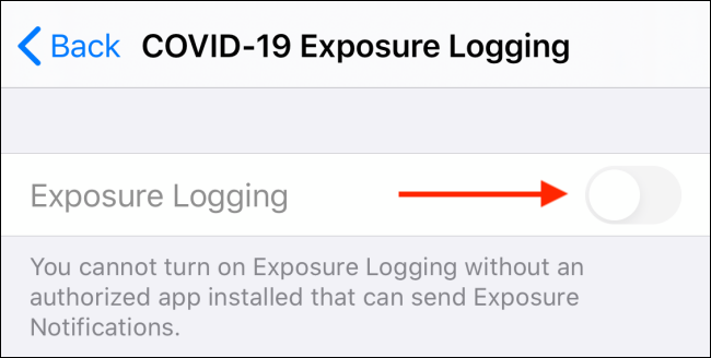 Tap on Exposure Logging to turn it on